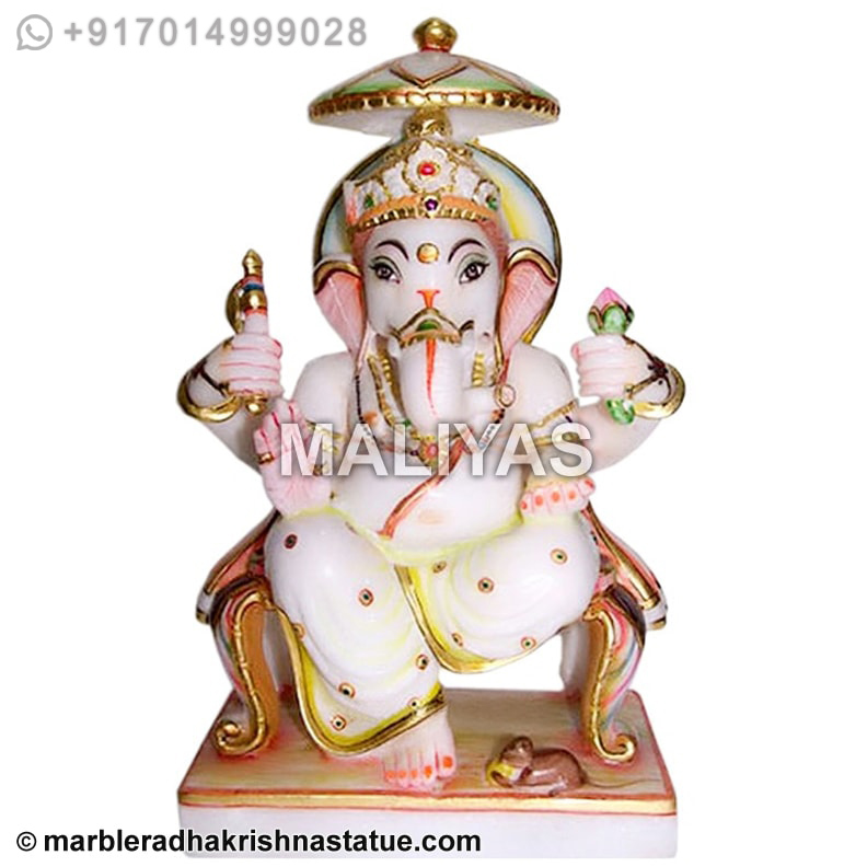 Marble Painted Ganesh Carving Statue