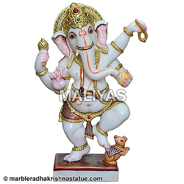 Dancing Ganesh White Marble Statue