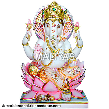 Marble Ganesh Statue Sitting on louts