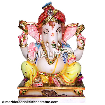 Marble Painted Ganapathi Statue