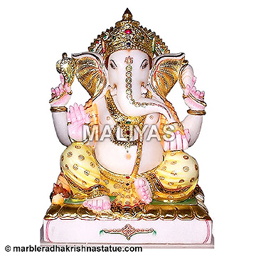 Large Pure White Marble Ganesh Sculpture