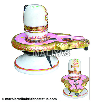 white Marble shivling with painting