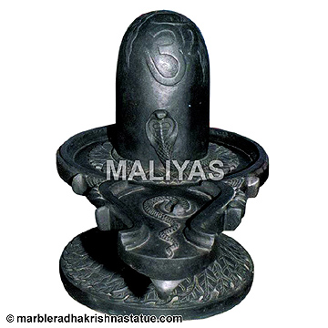 Black Marble Shivling with carving work