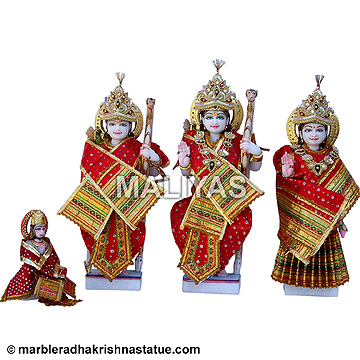 Beautiful Marble Ram Parivar Statue