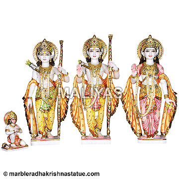 White Ram Parivar Statue with Painting work
