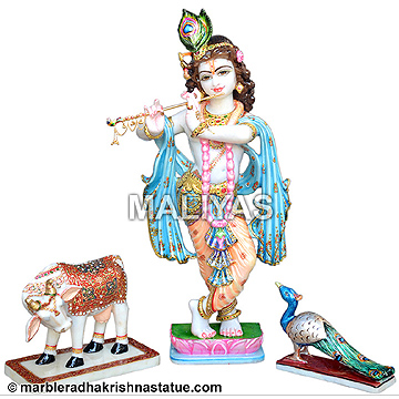 Lord Krishna with Cow and Peacock Statue
