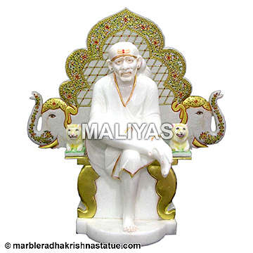 Marble Lord Sai Baba Statue with singhasan