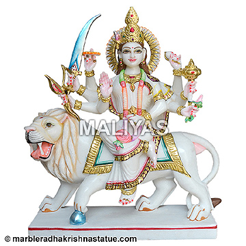 Marble Durga Goddess Sculpture