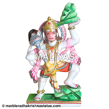 Marble Hanuman Statue carrying Mountain
